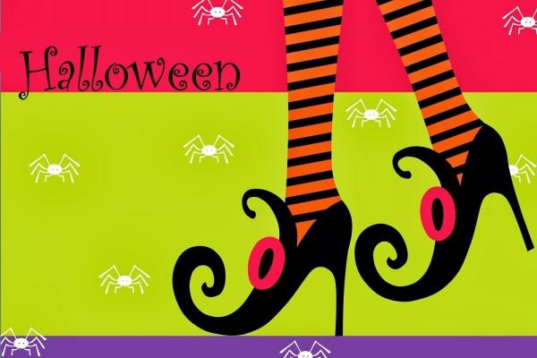 Los zapatos de una bruja en Halloween