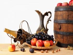 Bodegón con vino, frutas y avellanas