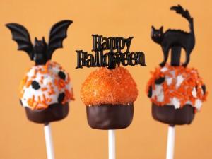 "Postal: Cake pops ""Feliz Halloween"""