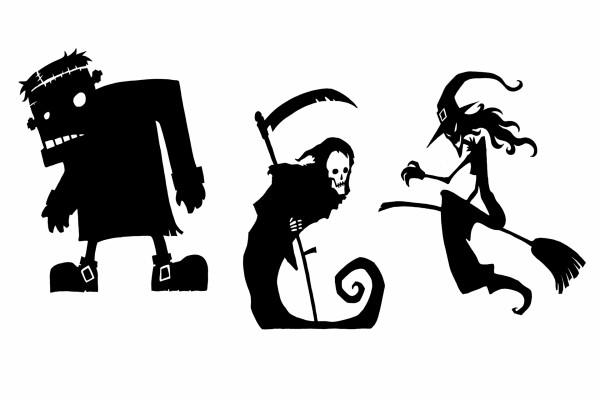 Frankestein, la muerte y una bruja juntos en la noche de Halloween