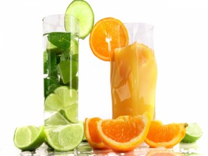 Postal: Zumos de lima y de naranja