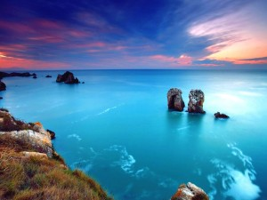 Postal: Mar en calma visto desde la costa