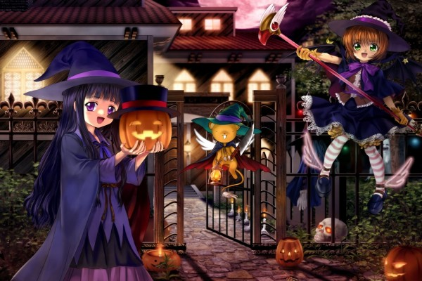 Brujas anime divirtiéndose en Halloween