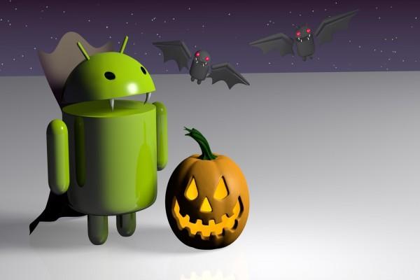 Android vampiro en la noche de Halloween