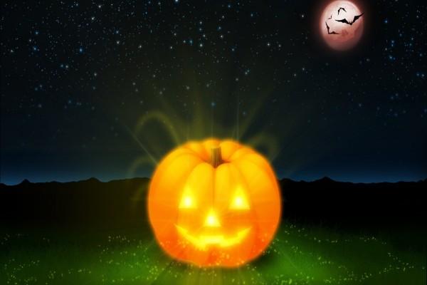 Gran calabaza brillante el día de Halloween