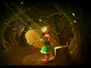 Postal: Muchacha observada y asustada en el bosque