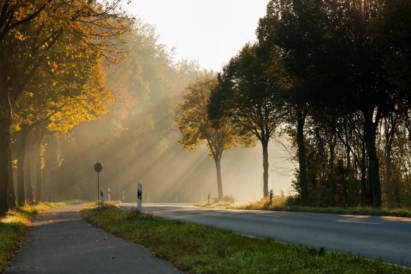 Los rayos del sol iluminan la carretera