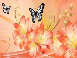 Mariposas volando sobre bonitos lirios