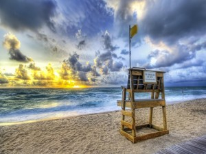 Postal: Asiento para los socorristas de la playa