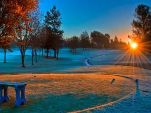 Postal: Puesta de sol en invierno