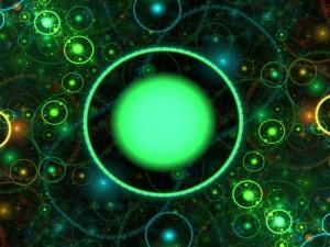 Círculos verdes en 3D