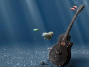 Guitarra bajo el agua