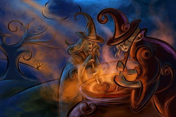 Brujas haciendo una pócima en la noche de Halloween