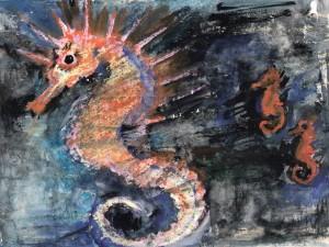 Postal: Caballitos de mar en una pintura