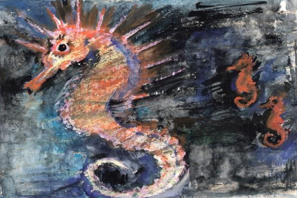 Caballitos de mar en una pintura