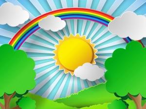 Postal: Día soleado con un bello arco iris
