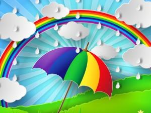 Día lluvioso con un arco iris