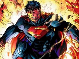 Postal: Superman saliendo de las llamas