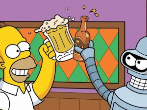 ¡Salud! Homer (Los Simpsons) y Bender (Futurama)