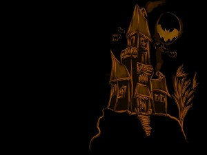 Postal: Un castillo embrujado con murciélagos