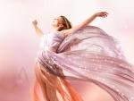 Mujer con un magnífico vestido largo