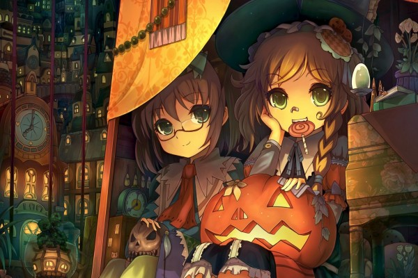 Amigas comiendo caramelos en Halloween
