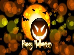Postal: ¡Feliz Halloween! te desea una calabaza maligna