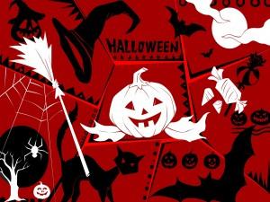 Cartel rojo para el día de Halloween