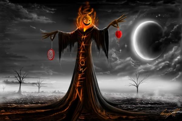 Un personaje terrorífico la noche de Halloween
