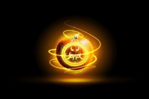 Una calabaza iluminada para el día de Halloween