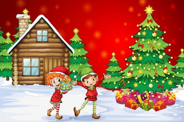 Duendes felices poniendo regalos en el árbol de Navidad