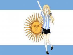 Chica K-ON! vestida de la selección de fútbol Argentina