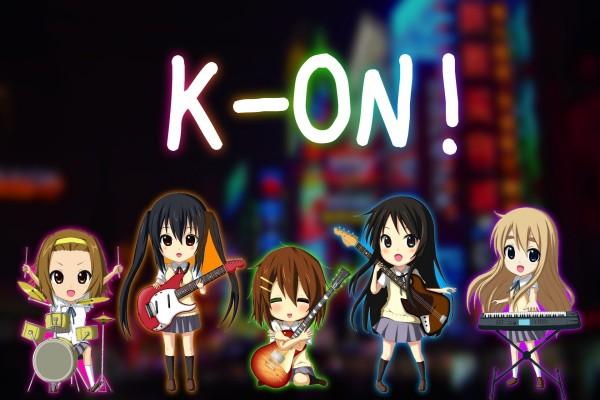Las chicas de K-ON! con instrumentos musicales
