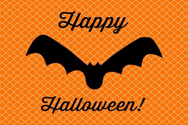 Cartel con ¡Feliz Halloween! y un murciélago