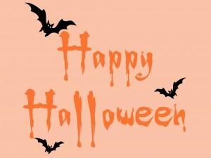 """Murciélagos sobre las letras de """"Feliz Halloween"""""""