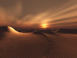 Postal: Atardecer en el desierto