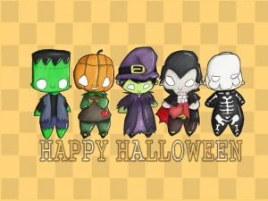 "Unos monstruitos te desean ""Feliz Halloween"""