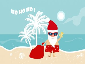 Santa pasando la Navidad en la Playa