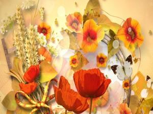 Postal: Hojas, espigas y flores de otoño
