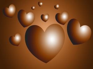 Corazones virtuales de chocolate