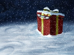Postal: Un regalo de Navidad en la nieve