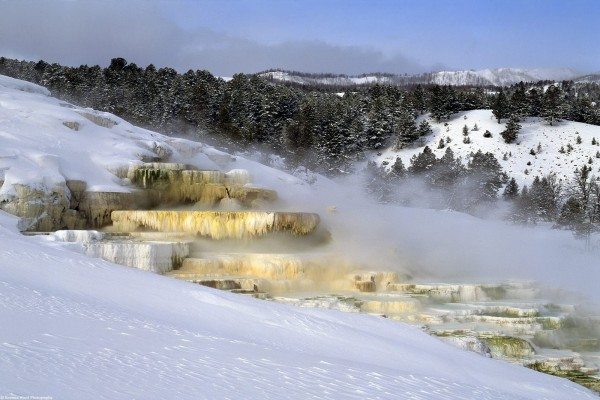 Cascada de agua helada en la nieve