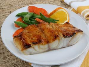 Postal: Pescado a la naranja con verduras