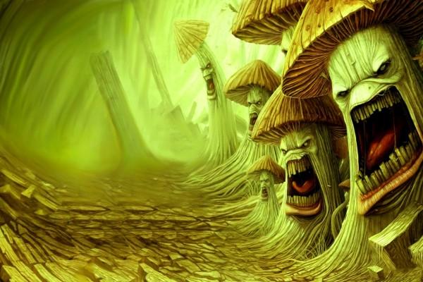 Setas malignas en el bosque
