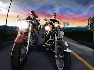 Postal: Harley-Davidson en la carretera