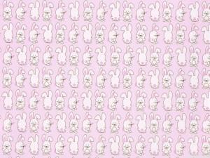 Postal: Textura rosada con dibujos de conejitos