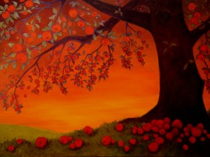 Postal: Manzanas bajo el árbol