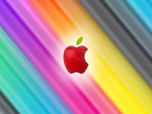 Logo de Apple de color rojo en un fondo de colores