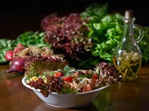 Ensalada con varias lechugas y aceite de oliva