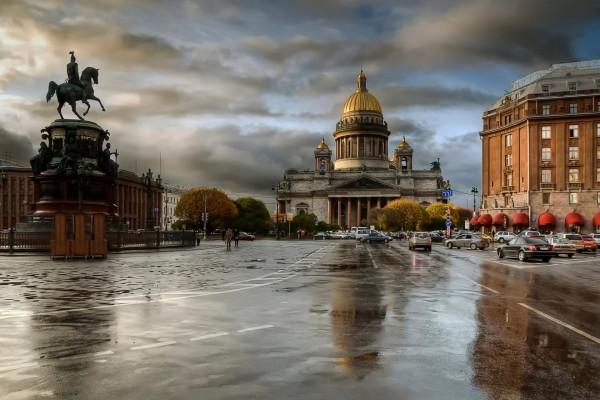 San Petersburgo en un día lluvioso